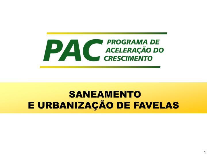 saneamento e urbaniza o de favelas n.