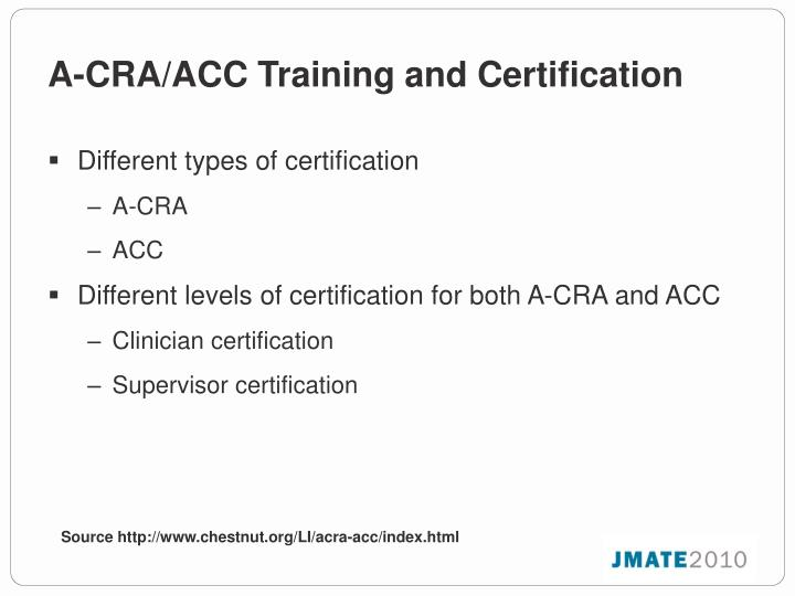 A-CRA/ACC Training and Certification