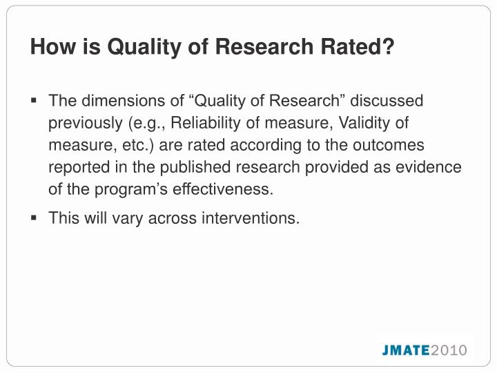 How is Quality of Research Rated?