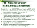 ftf national strategy for planning investment