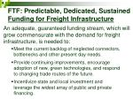 ftf predictable dedicated sustained funding for freight infrastructure