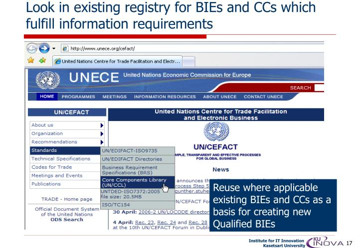 Look in existing registry for BIEs and CCs which fulfill information requirements