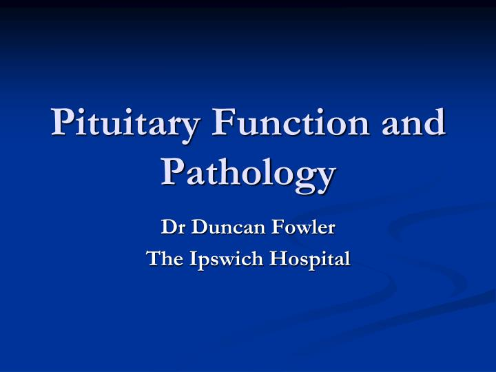 pituitary function and pathology n.