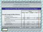 unrestricted general fund reductions central office summary centrally funded site based services