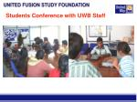 students conference with uwb staff