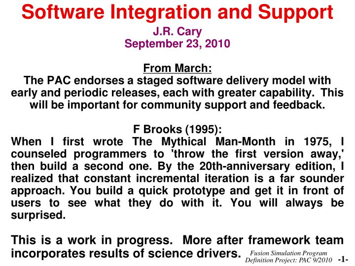 software integration and support n.