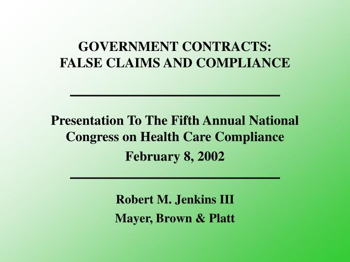 government contracts false claims and compliance n.