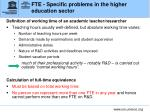 fte specific problems in the higher education sector