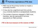 full time equivalence fte data