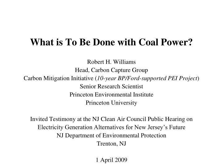 what is to be done with coal power n.