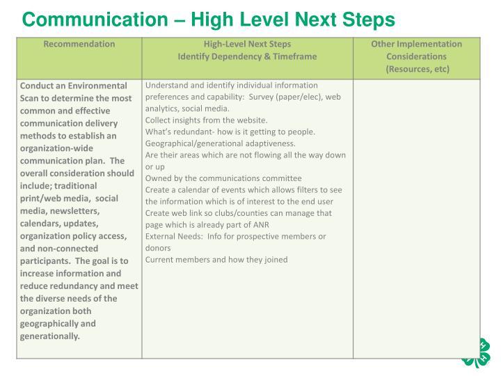 Communication – High Level Next Steps