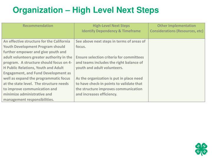 Organization – High Level Next Steps