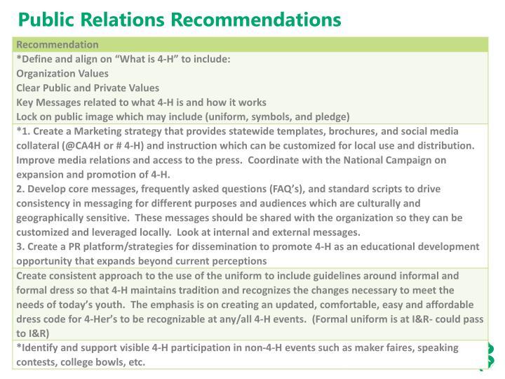 Public Relations Recommendations