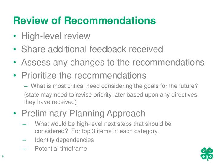 Review of Recommendations