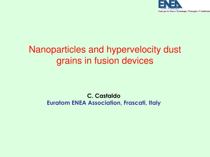 Nanoparticles and hypervelocity dust grains in fusion devices