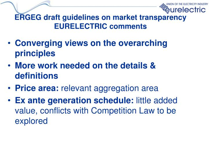ERGEG draft guidelines on market transparency