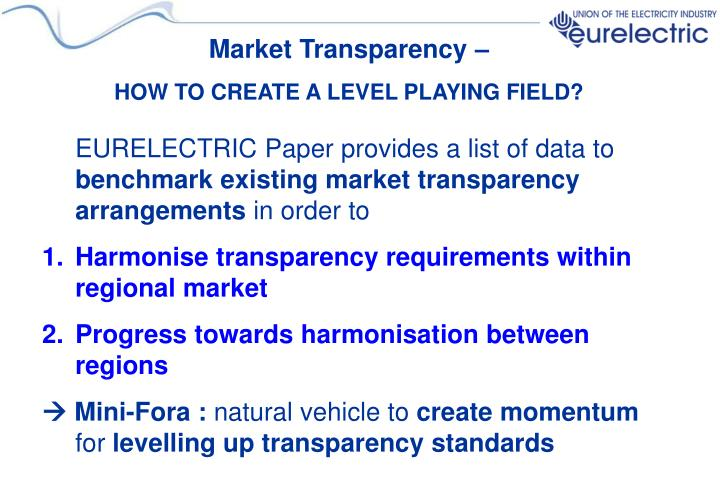 Market Transparency –