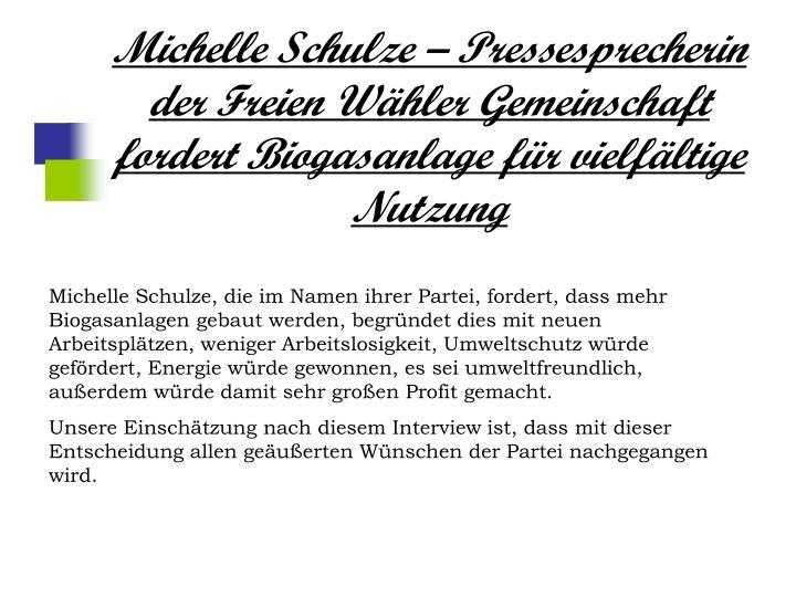 Michelle Schulze – Pressesprecherin der Freien Wähler Gemeinschaft fordert Biogasanlage für vielfältige Nutzung