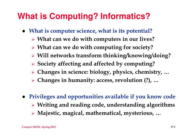 what is computing informatics n.