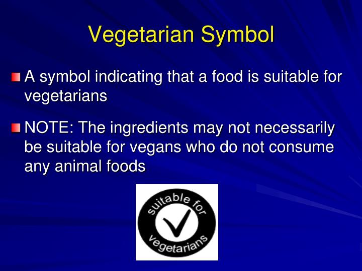 A symbol indicating that a food is suitable for vegetarians