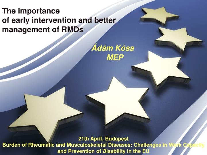 the importance of early intervention and better management of rmds d m k sa mep n.