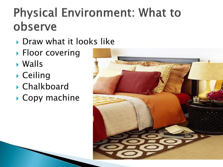Physical Environment: What to observe