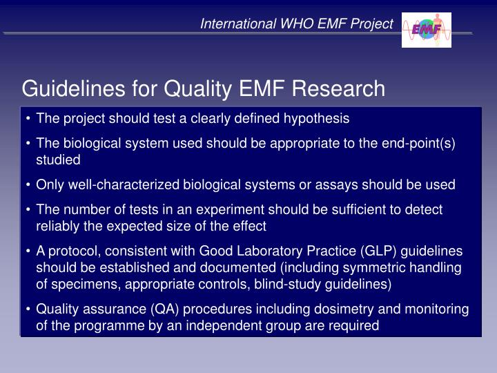 International WHO EMF Project