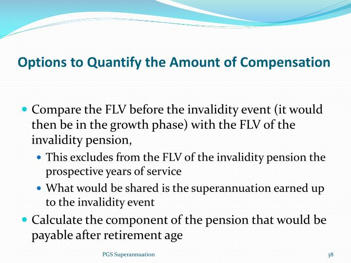 Options to Quantify the Amount of Compensation