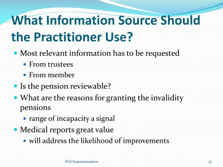 What Information Source Should the Practitioner Use?