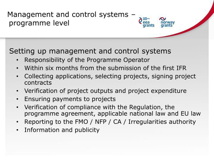 Management and control systems – programme level