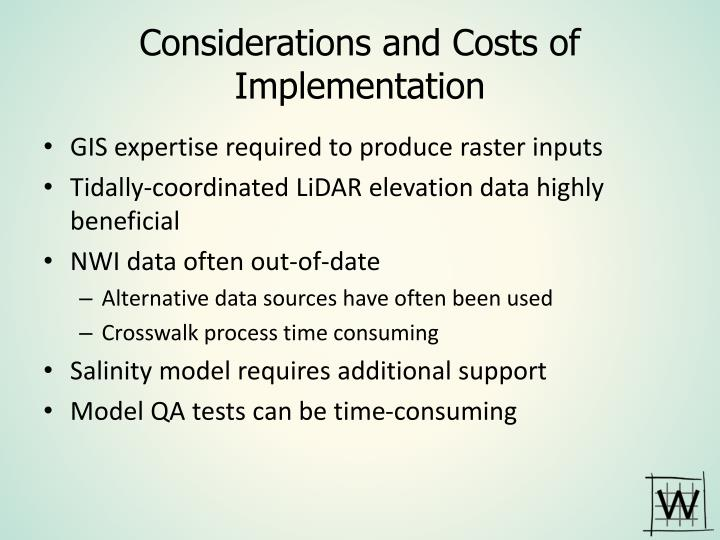 Considerations and Costs of Implementation