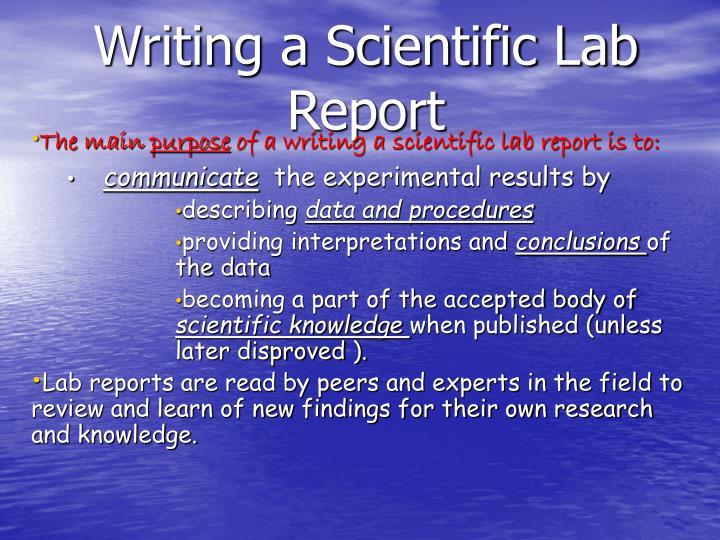 writing a scientific lab report n.