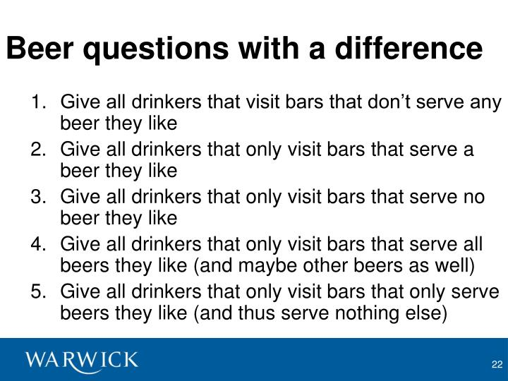 Beer questions with a difference