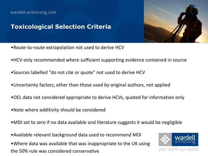 Toxicological Selection Criteria
