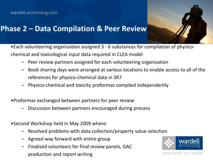Phase 2 – Data Compilation & Peer Review