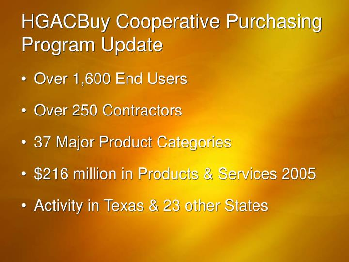 HGACBuy Cooperative Purchasing Program Update