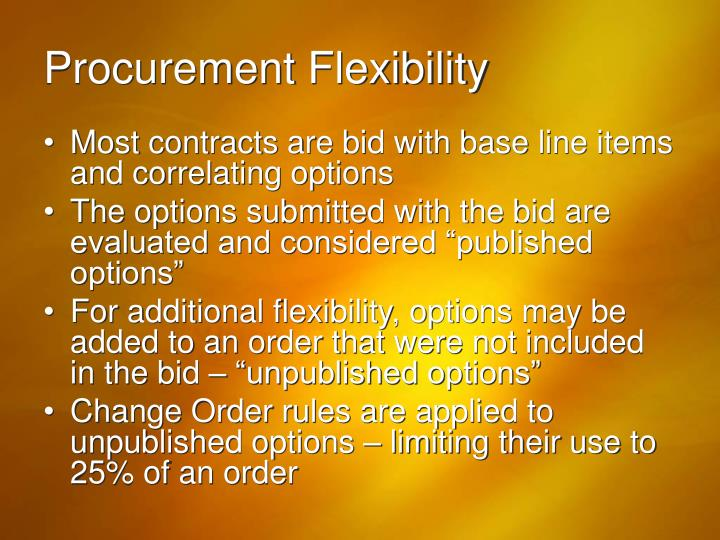 Procurement Flexibility