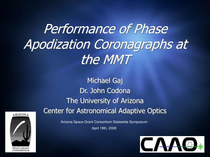 performance of phase apodization coronagraphs at the mmt n.
