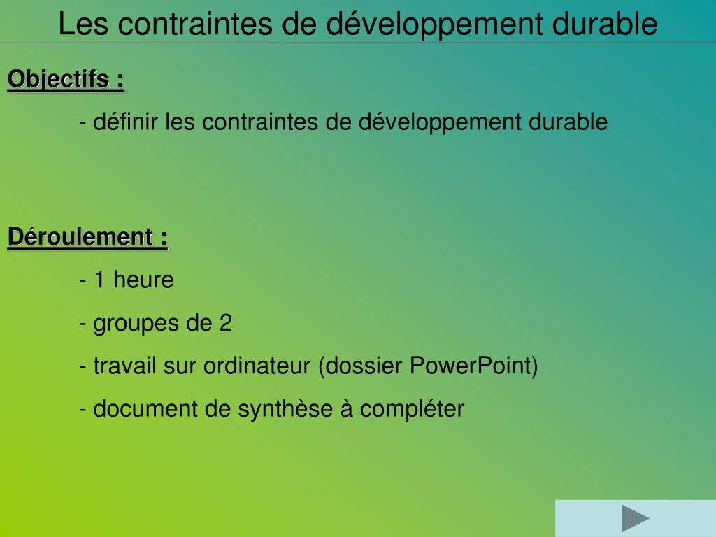 9c0b91e7835c Download. Skip this Video. Loading SlideShow in 5 Seconds.. Les contraintes  de développement durable PowerPoint Presentation