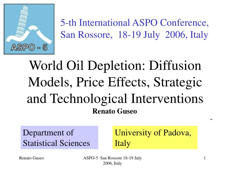 world oil depletion diffusion models price effects strategic and technological interventions n.