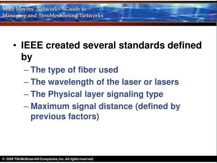 IEEE created several standards defined by