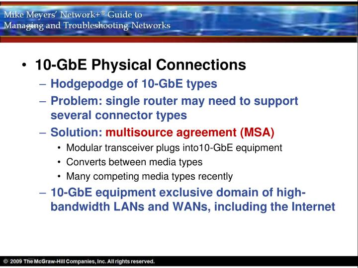 10-GbE Physical Connections