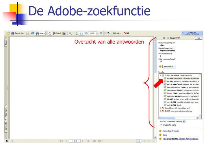 De Adobe-zoekfunctie