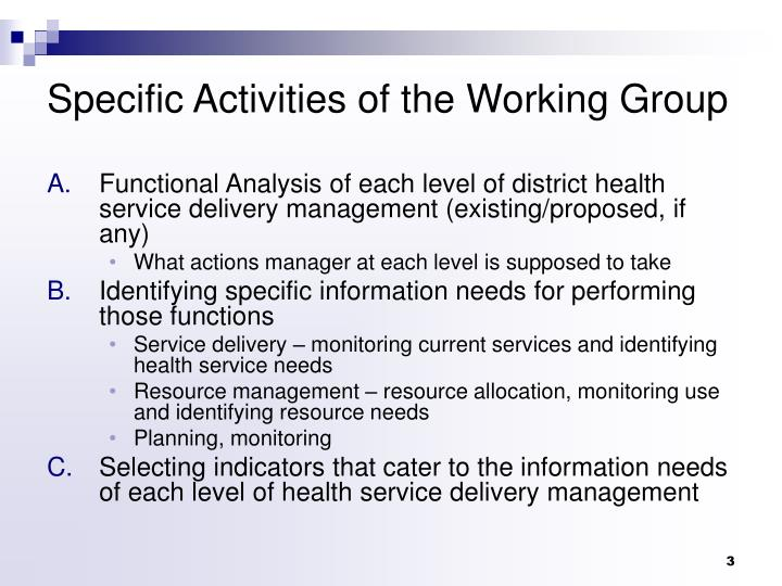 Specific activities of the working group