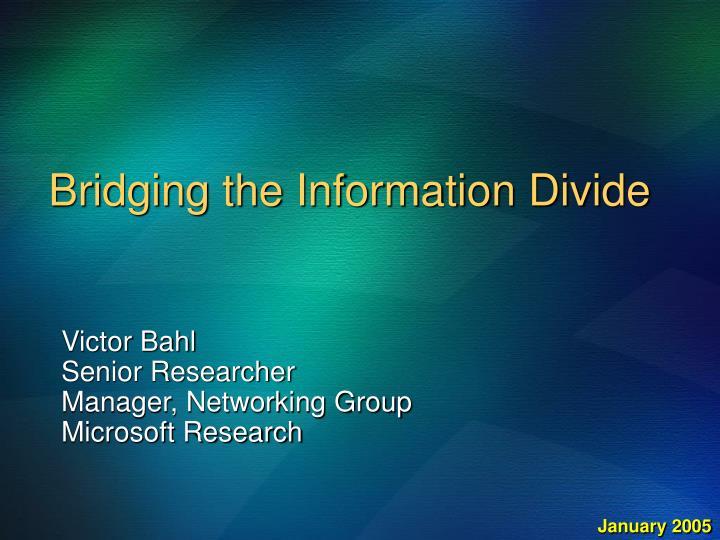 bridging the information divide n.