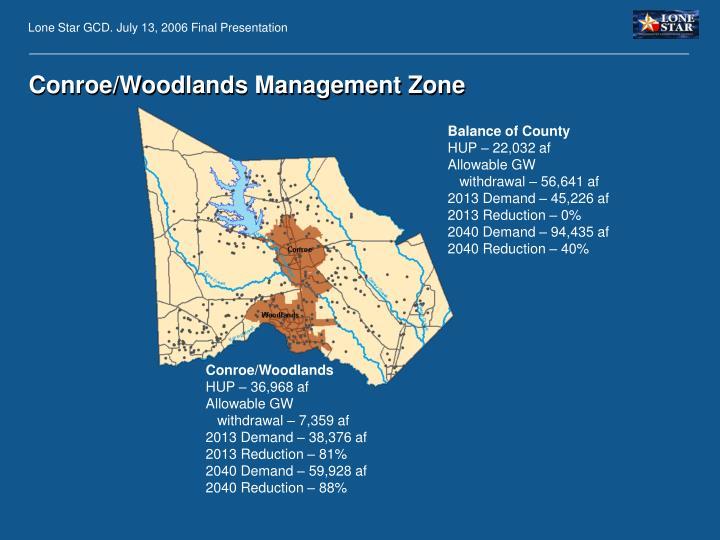 Conroe/Woodlands Management Zone