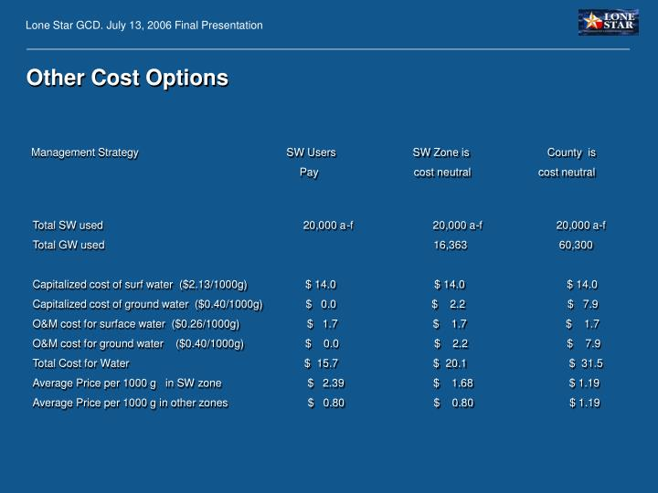 Other Cost Options