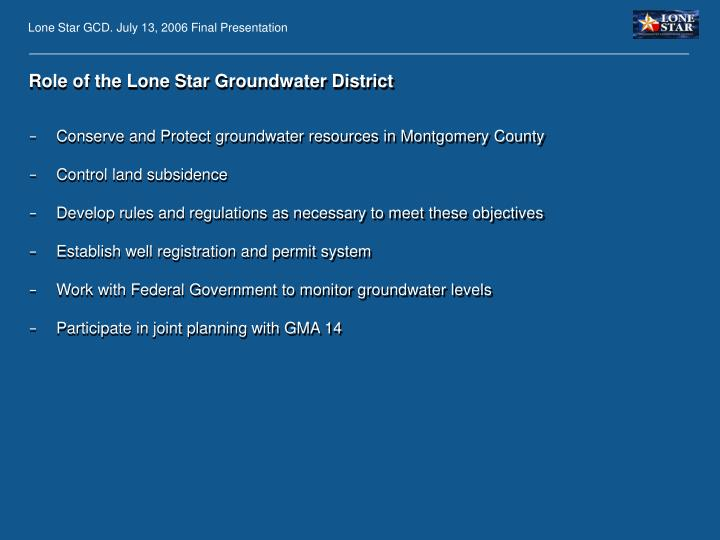 Role of the Lone Star Groundwater District