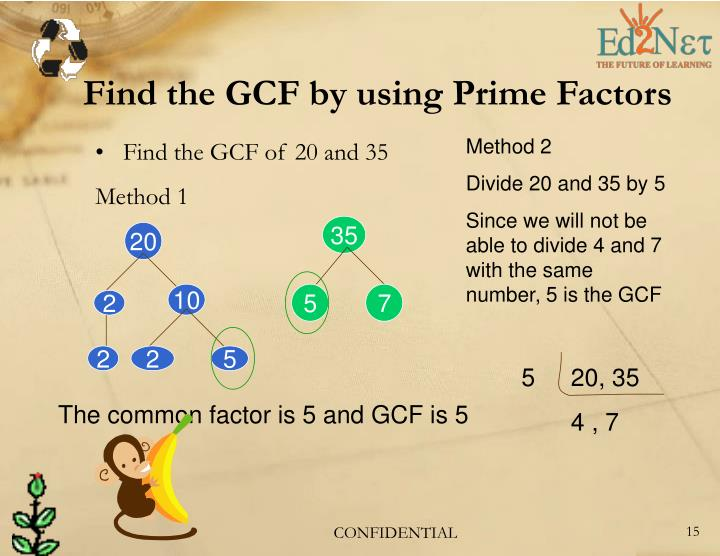 Find the GCF by using Prime Factors