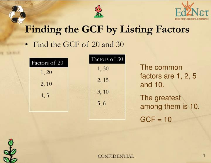 Finding the GCF by Listing Factors